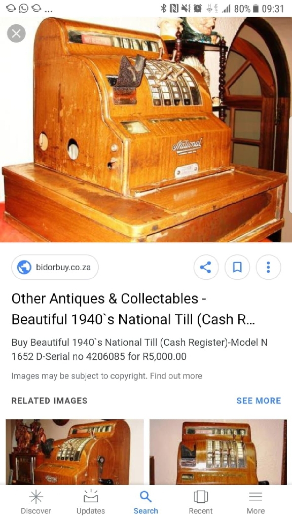 Antique National till dated 1940