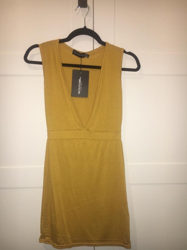 Ladies Yellow Plunge Bodycon Dress