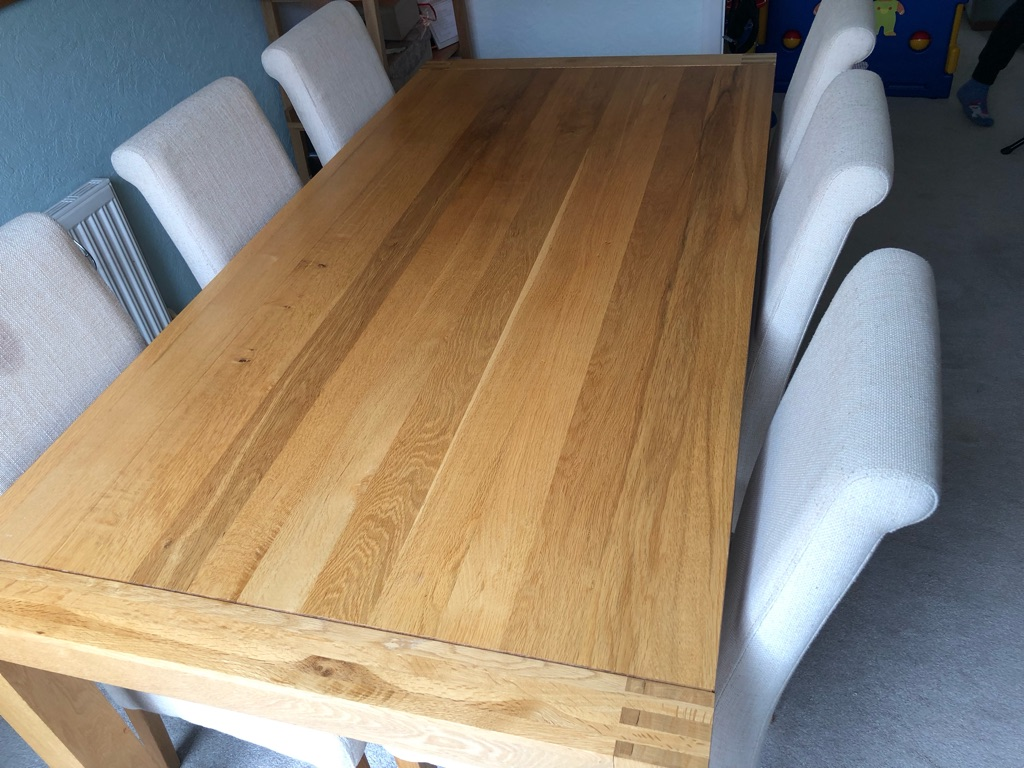 Solid Oak Dining Table - 6 Chairs
