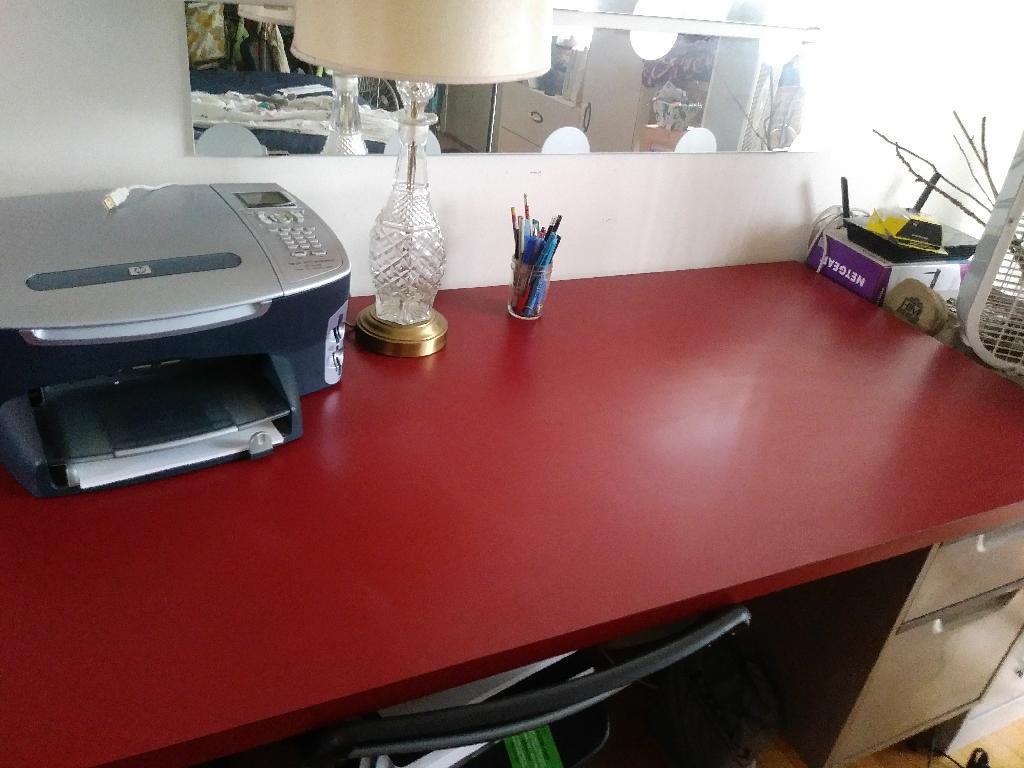 Large red desk