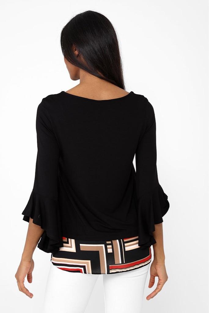 Black printed hem top