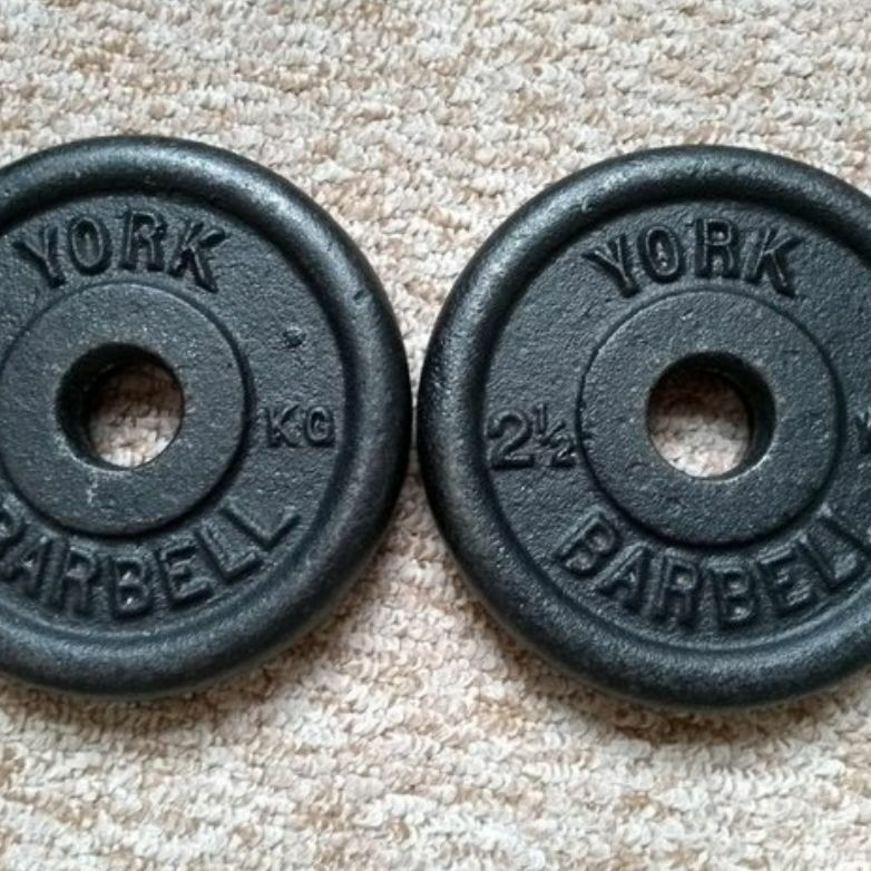 "Pair of 1"" Weight Discs ~ 2.5kg"