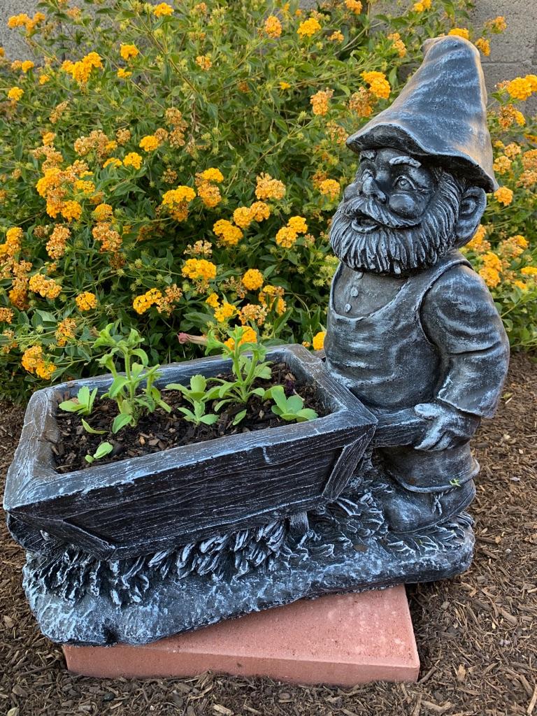 Concrete gnome planter