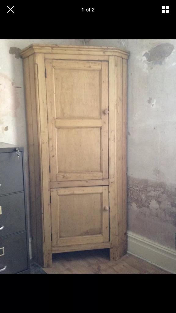 Victorian vintage pitch pine corner cupboard
