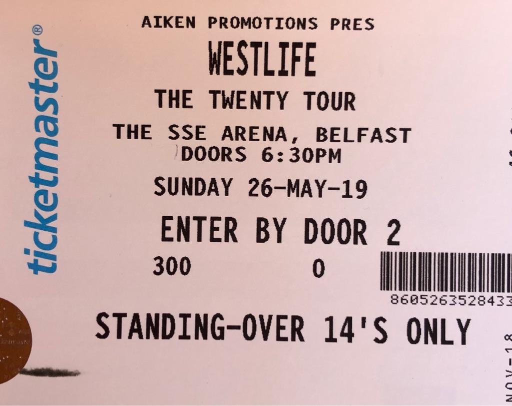 Westlife ticket for sale: SSE Arena Belfast, 26/5