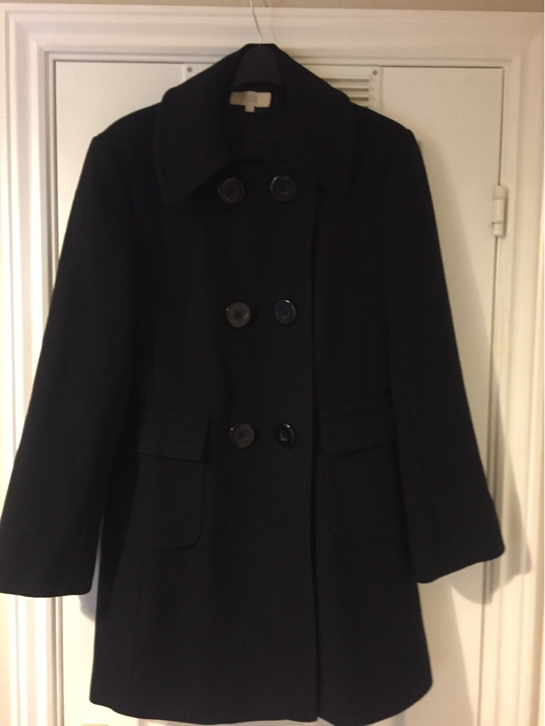 M&S Ladies Black Double Breasted Coat - size 10