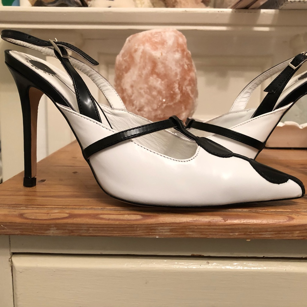 Red or Dead / blk / white leather/spot retro 60 s 4.5 inch heel / New without box