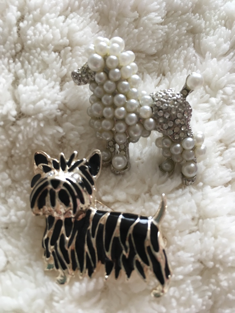 2 lovely 'doggy' brooches