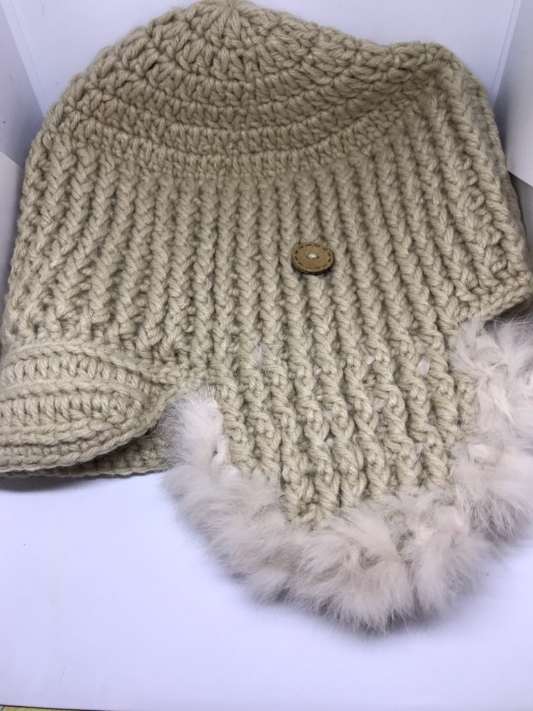 Beige Knitted Trapper Hat