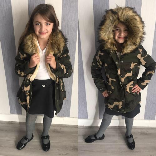 Kids parka fur coats