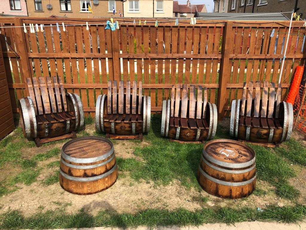Oak Barrel Garden Sets, we have 4 sets.