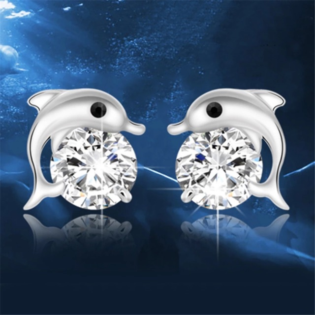 New 925 silver dolphin studs