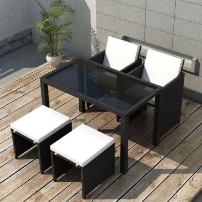 5 PIECE OUTDOOR DINING SET POLY RATTAN BLACK WITH CUSHIONS - Free Delivery