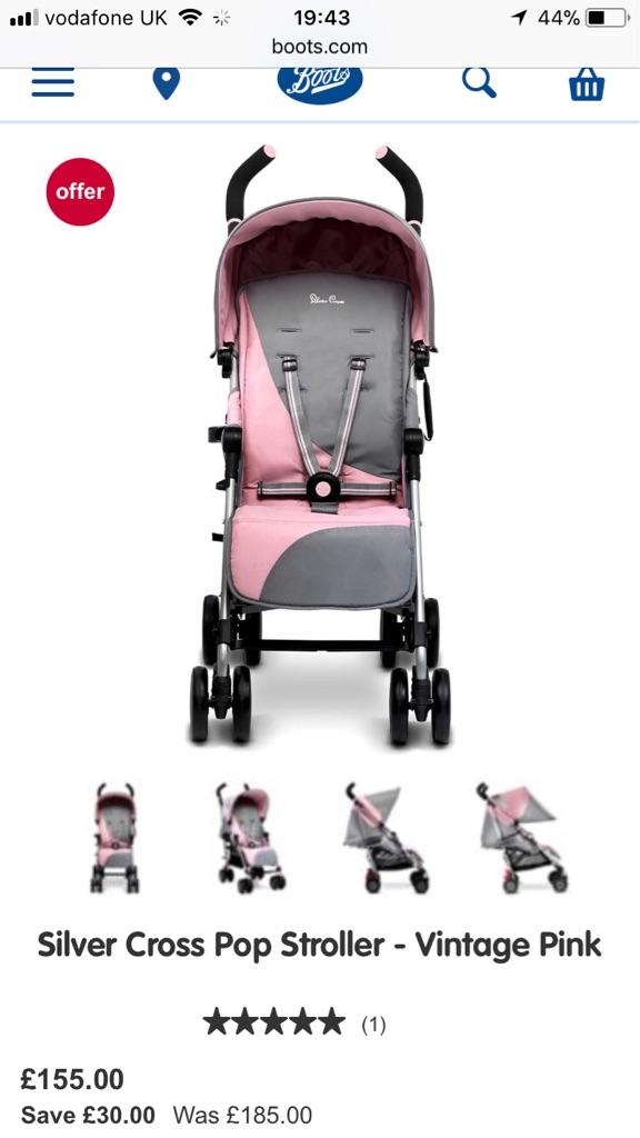 Vintage Pink Silver Cross Pop Stroller