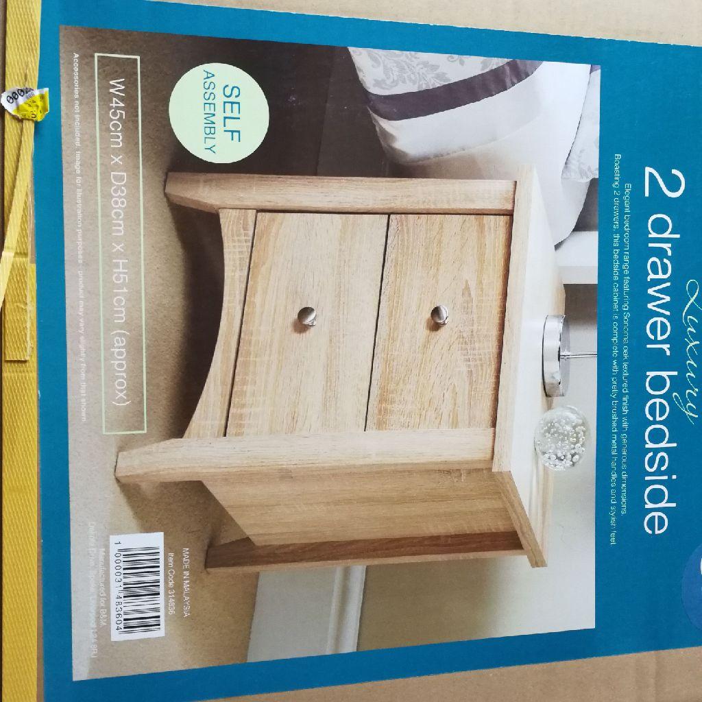 Brand new 2 drawer bedside