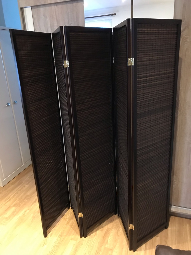 Brown 5 Panel Wooden Slat Room Divider Home Privacy Screen/Separator/Partition