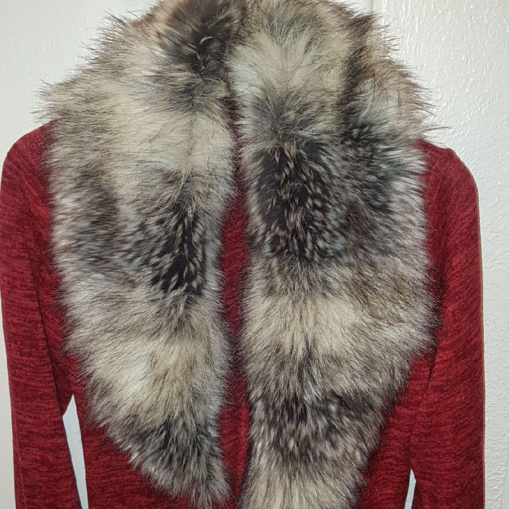 Cardigan jacket fur collar