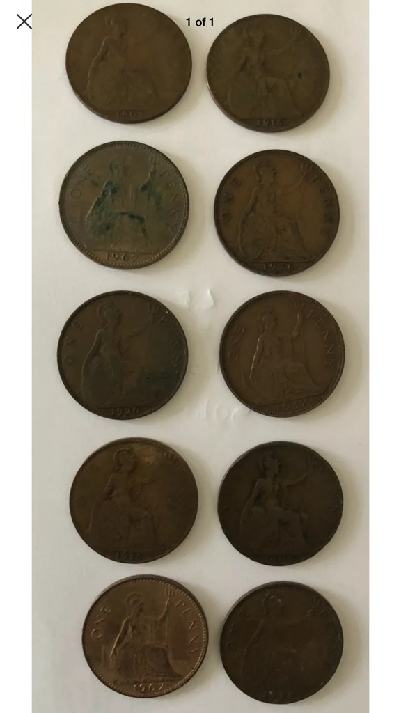 TEN ONE PENNY COINS