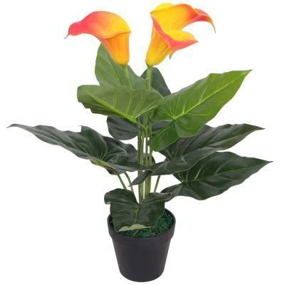 ARTIFICIAL CALLA LILY PLANT WITH POT 45 CM RED AND YELLOWR