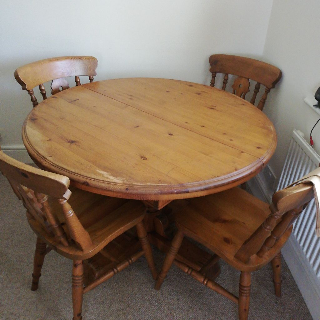 Pine dining table and four chairs