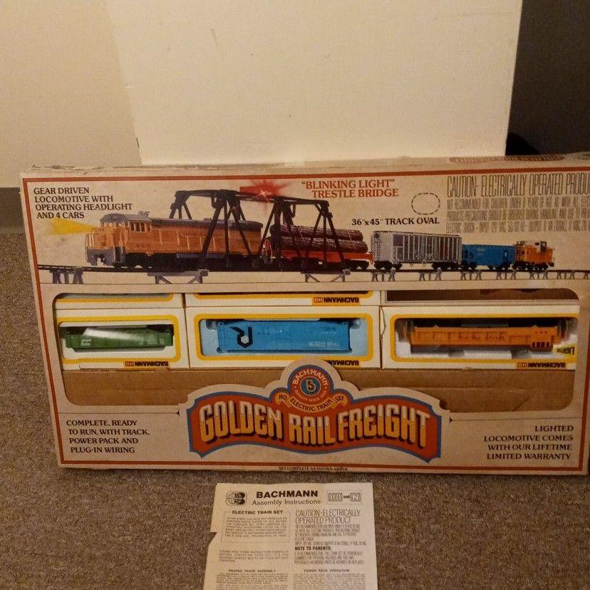 Golden rail freight electric train set