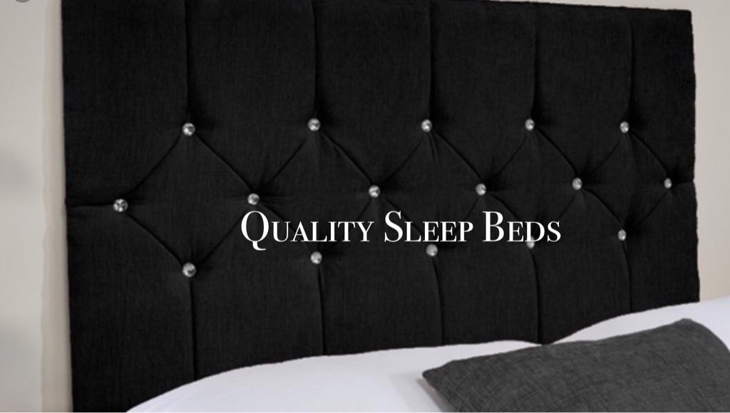 😍😍😍 CHENNILLE VELVET FABRIC BED WITH DIAMANTÉ HEADBOARD