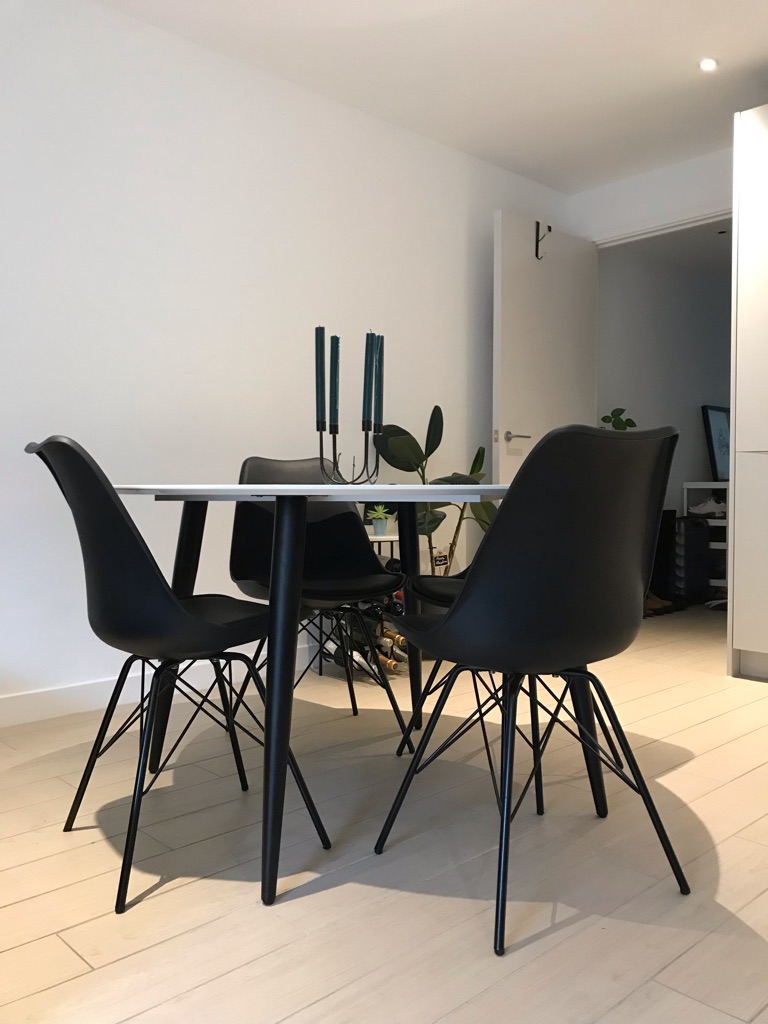 Faux Marble Table with 4 x Black Chairs