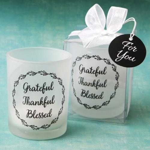 Grateful, thankful, blessed candle votive