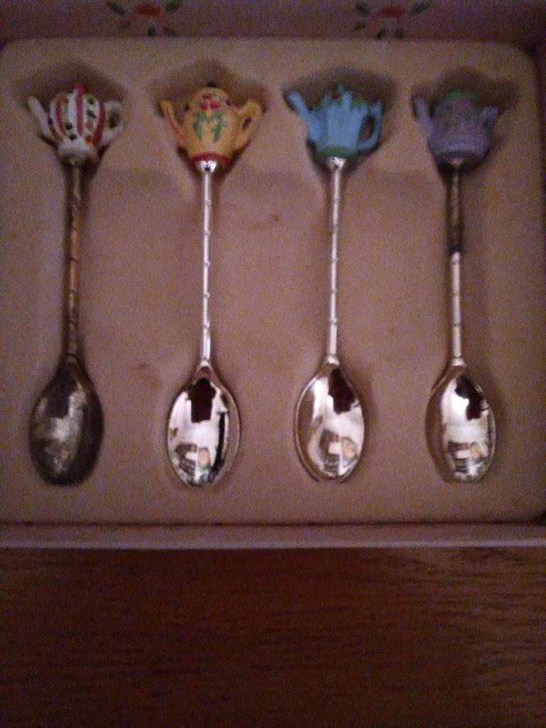 Antique silver plated souivour spoons