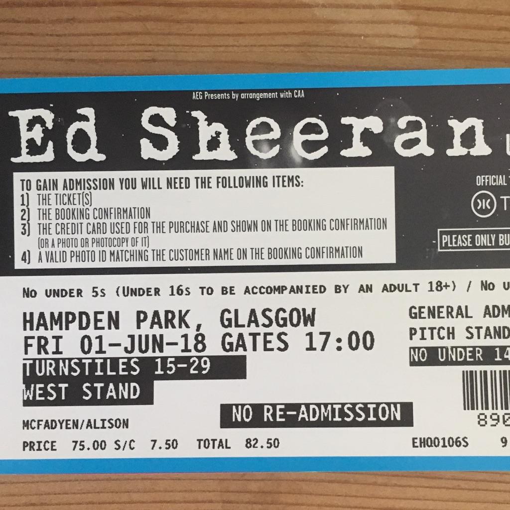 Ed Sheeran Standing Ticket