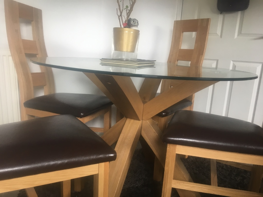 Pure oak dining table with chairs