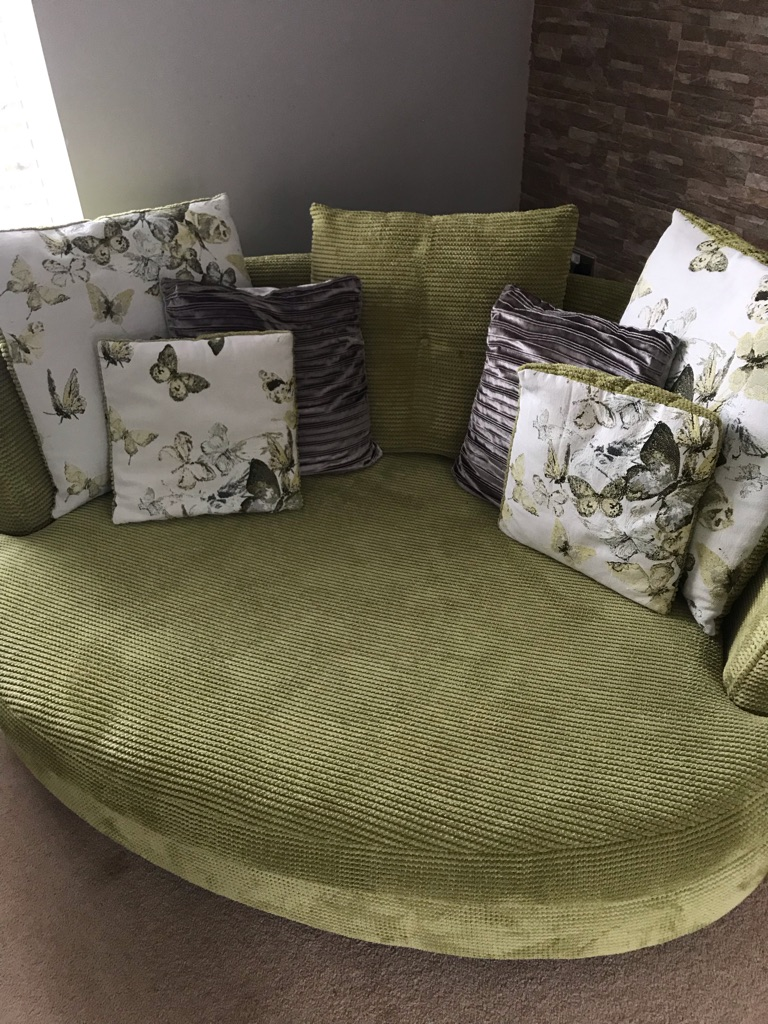 4 seater sofa, snuggle sofa and footstool with storage