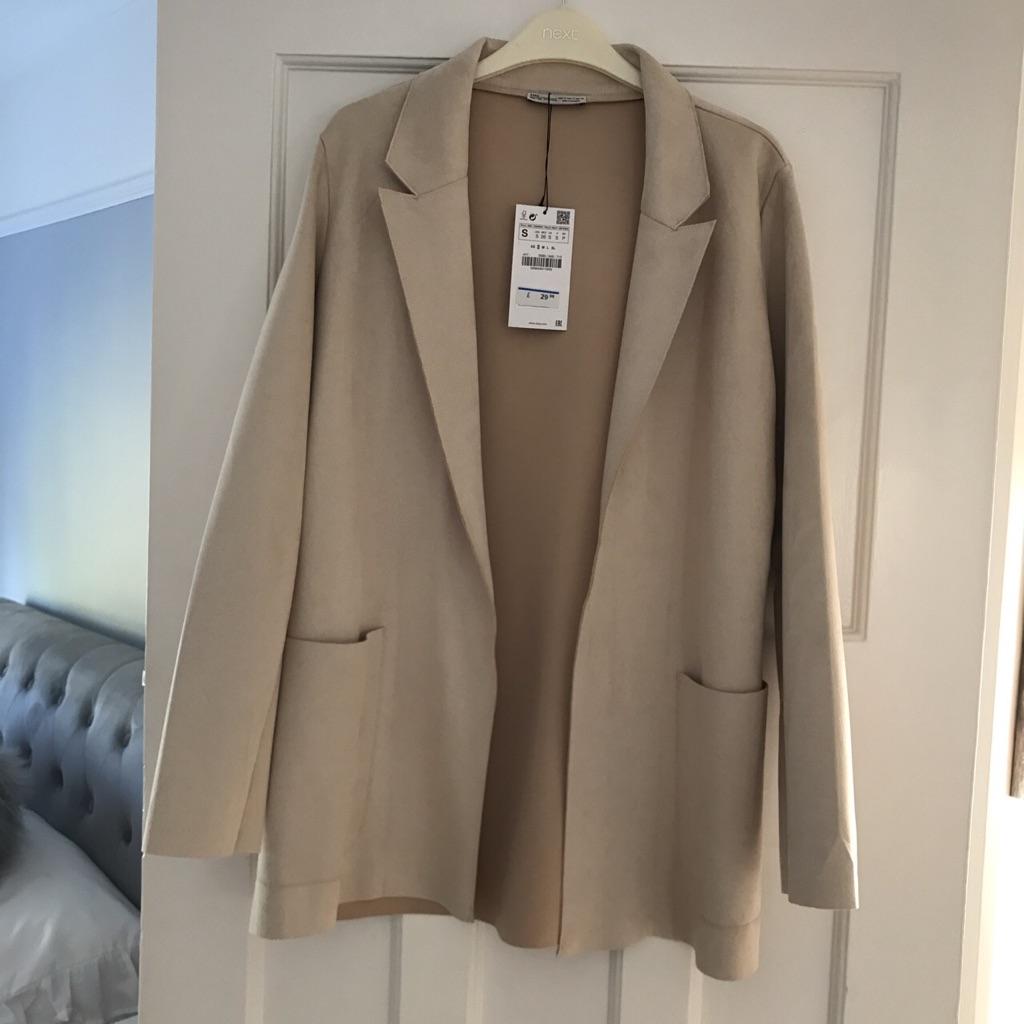 Zara cream crushed velvet blazer