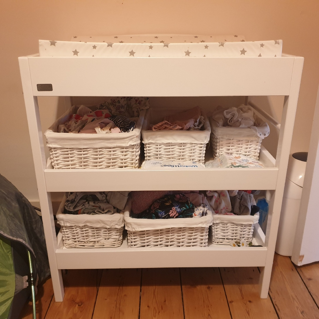 White Baby Changer unit and baskets