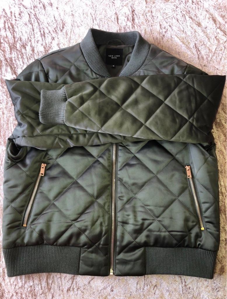 New Look Khaki Bomber Jacket Size 14 Petite