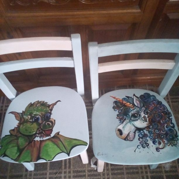 Little old style school chairs