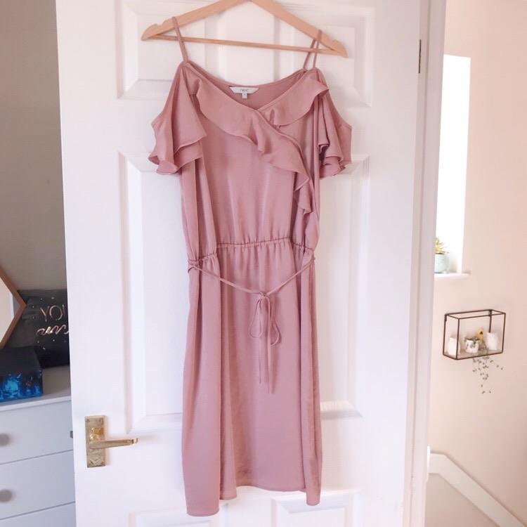 Next Blush Pink Ruffle Cold Shoulder Dress