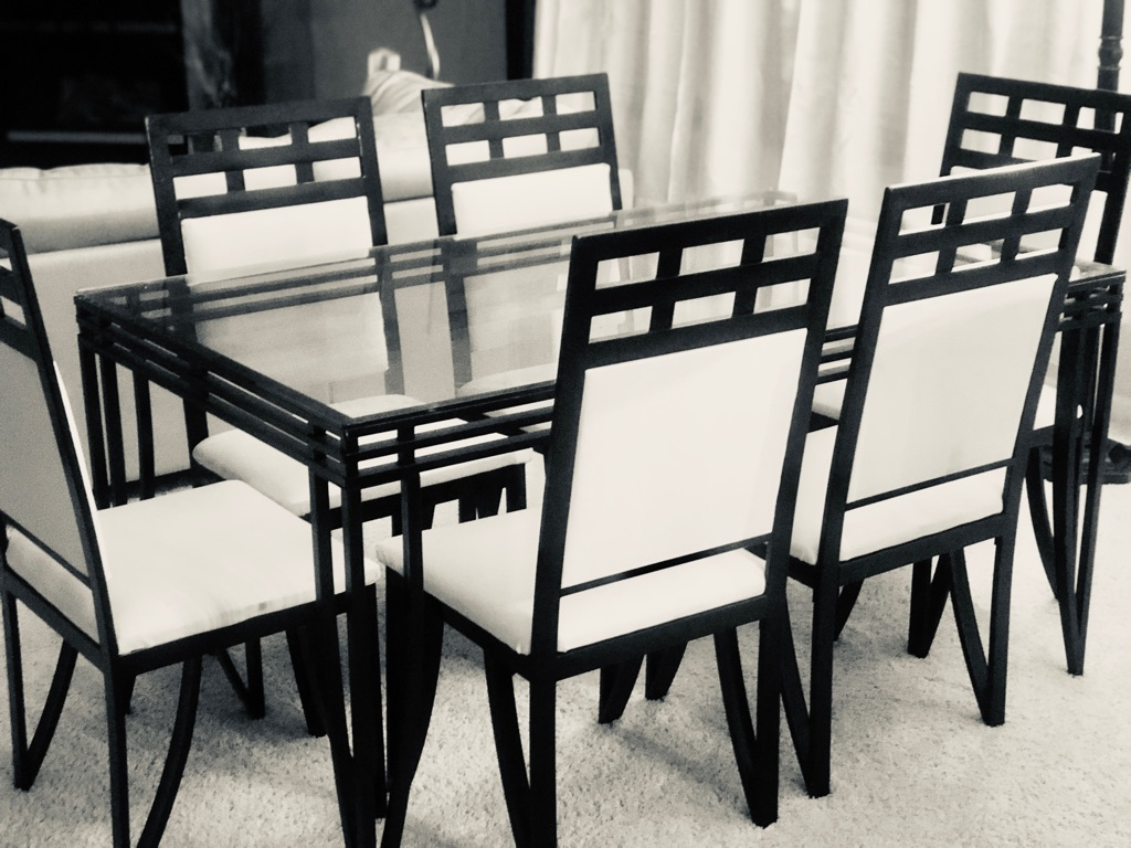 One of a kind glass black and white dinning set
