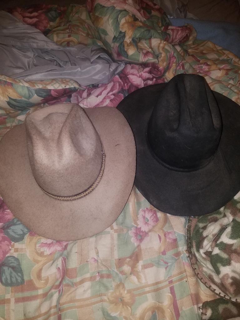 2 cow boy hats