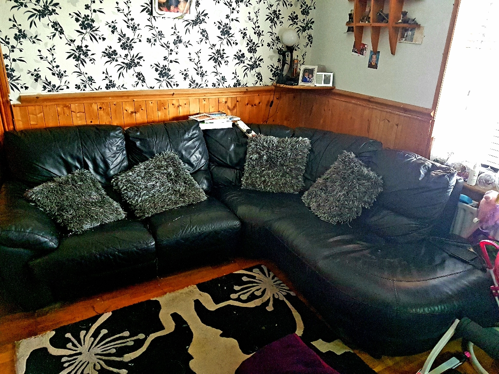 3 seater sofa and a corner leather