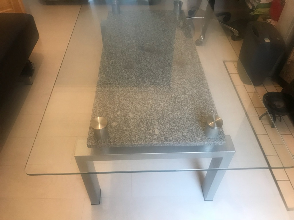Lager glass coffee table