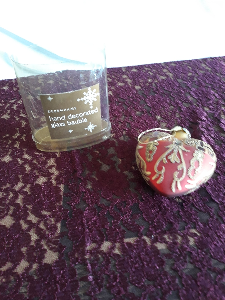 Debenhams heart shaped glass bauble
