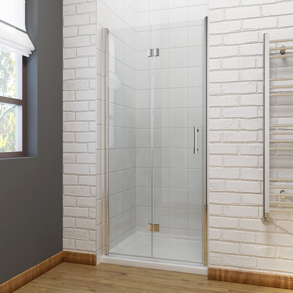 Elegant frameless bifold shower door 900mm