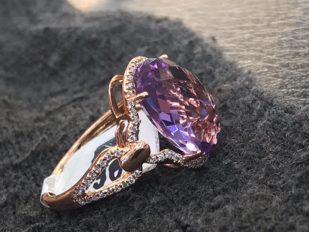 6.70Ct IF Amethyst 18Kt Rose Gold - 0.19Ct Diamond Ring