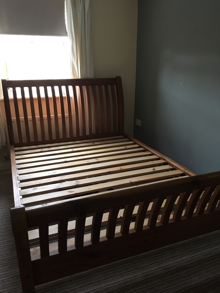 Reclaimed sleigh double bed