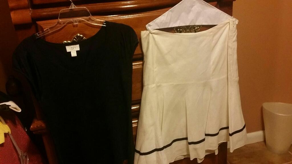 Loft blue top, size L, linen skirt size 12