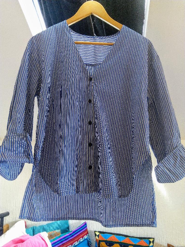 Blue/ white stripy shirt