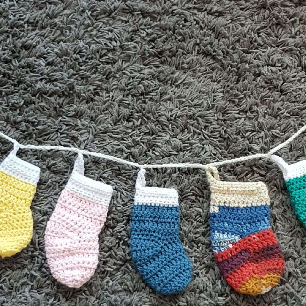 Handmade crochet stocking garland