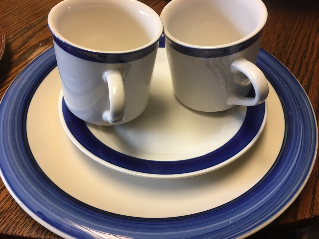 Ocean blue dinning dish set for two $30 or best offer