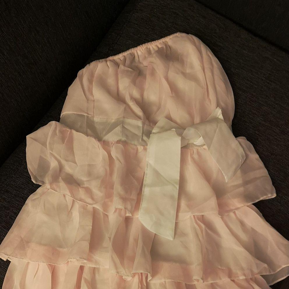 Pink ruffle boobtube dress